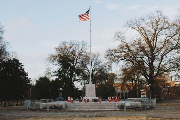 A pedestal, where the statue of General Nathan Bedford Forrest stood before it was removed, stands at a park in Memphis, Tenn