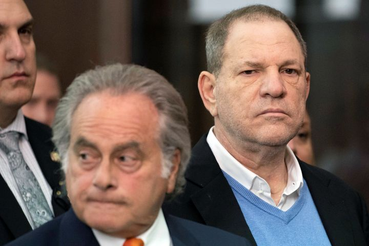 Harvey Weinstein appears silently alongside attorney Benjamin Brafman at the Manhattan Criminal Court during his arraignment.