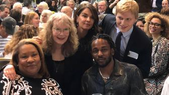Rapper and songwriter Kendrick Lamar poses with writer Ronan Farrow and his mother, actress Mia Farrow, during the Pulitzer Prize ceremony at Columbia University in New York City, U.S. May 30, 2018.  REUTERS/Adrees Latif