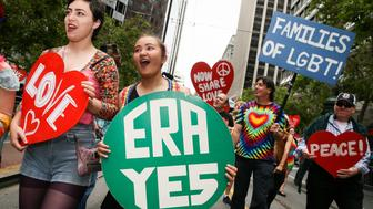 SAN FRANCISCO, CA - JUNE 25: Marchers channel the fight for the Equal Rights Amendment in the annual LGBTQI Pride Parade on Sunday, June 25, 2017 in San Francisco, California. The themes of the 47th annual Pride Parade were Resistance, the 50th anniversary of the Summer of Love, and Pride. (Photo by Elijah Nouvelage/Getty Images)