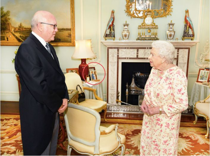 Queen Elizabeth II and the Honorable George Brandis, the Australian High Commissioner to the U.K., at Buckingham Palace in 20
