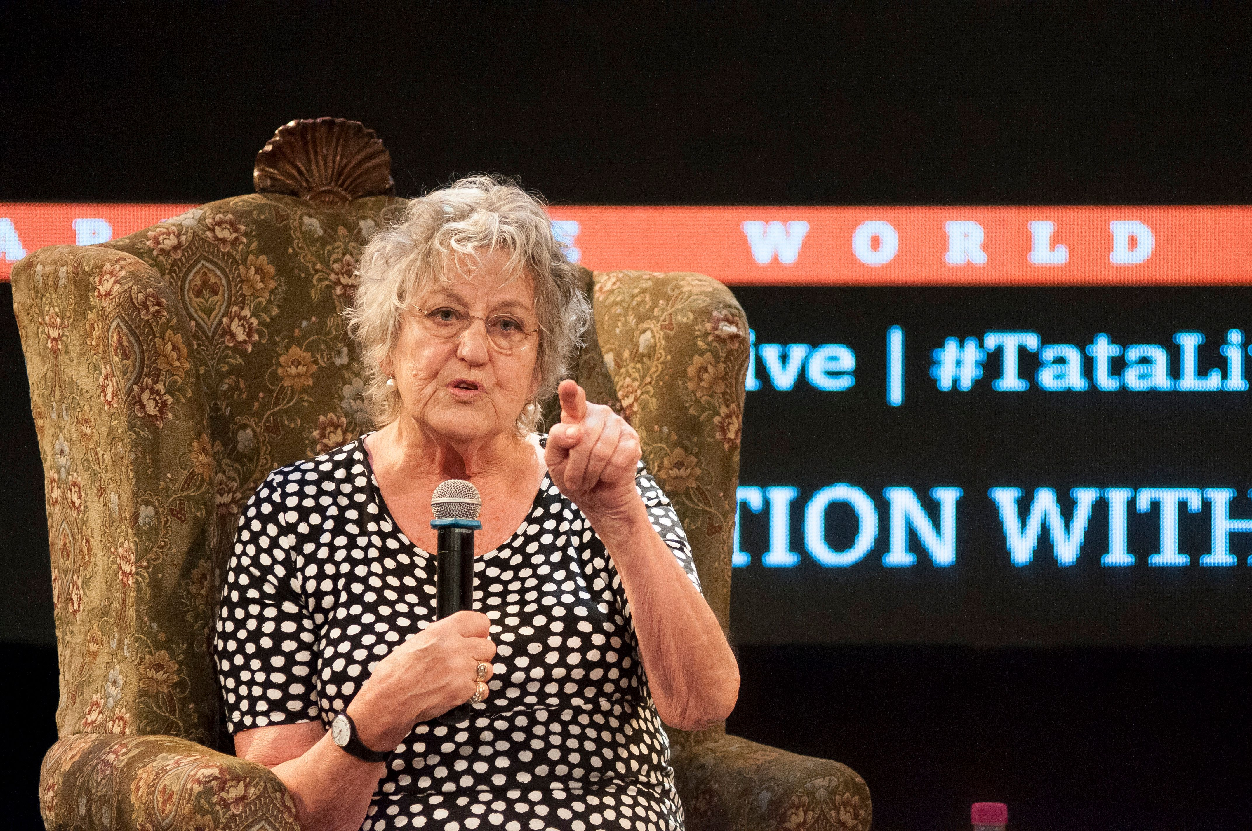 Germaine Greer speaks at the Tata Literature Live Festival on Oct. 29, 2015, in Mumbai, India.