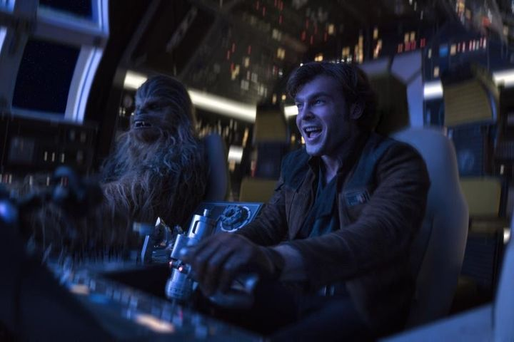 "Joonas Suotamo as Chewbacca and Alden Ehrenreich as Han Solo in ""Solo: A Star Wars Story."""