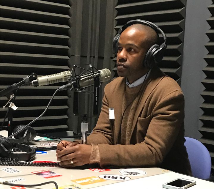 Davis at USA Today recording the For the Win podcast.