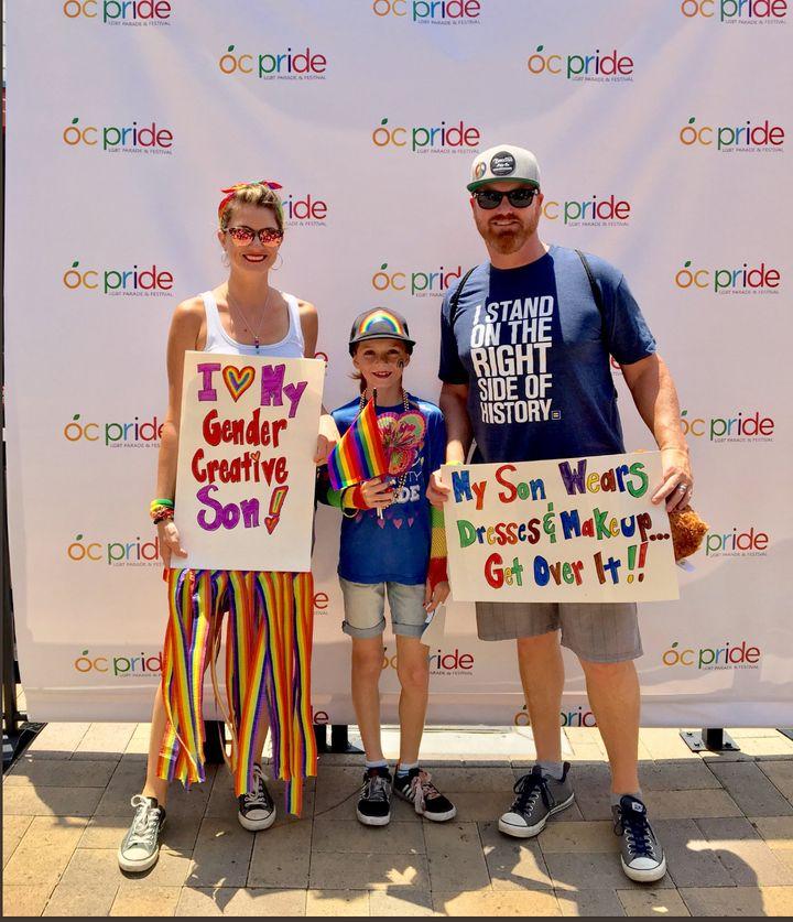 Lori, C.J. and Matthew Duron at the 2017 O.C. Pride parade.