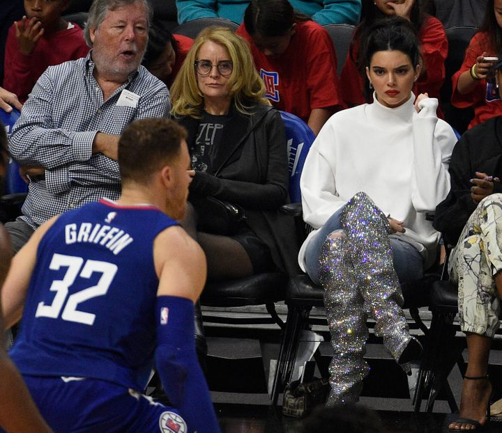 Kendall Jenner looks on as Blake Griffin plays in 2017.