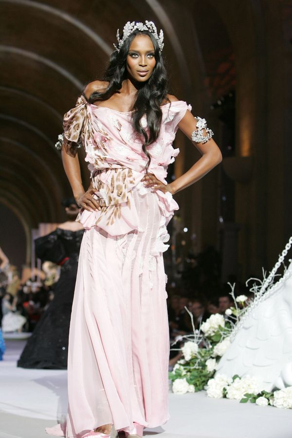 On the catwalk wearing Dior Haute Couture in Versailles, France.