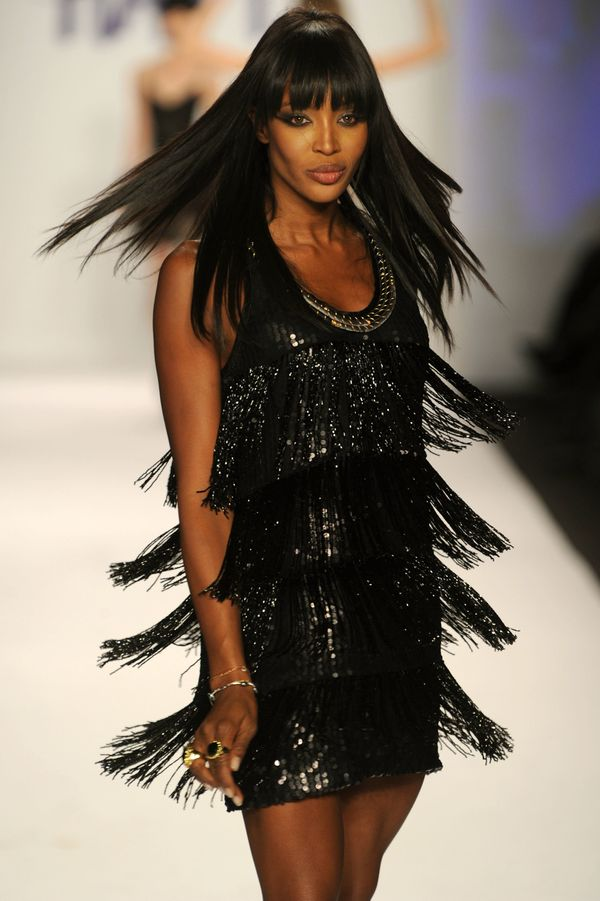 Walkingthe runway at the Fashion for Relief Haiti show during Mercedes-Benz Fashion Week at Bryant Park in New York.