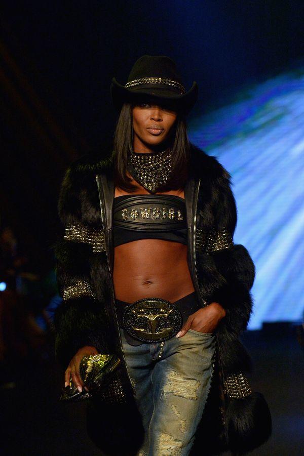 Walking the runway during the Philipp Plein show as part of Milan Fashion Week's womenswear show.