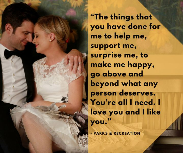 The <a href=&quot;https://www.huffingtonpost.com/topic/vows&quot;>wedding vows</a> Leslie Knope (Amy Poehler) recited to her on-screen