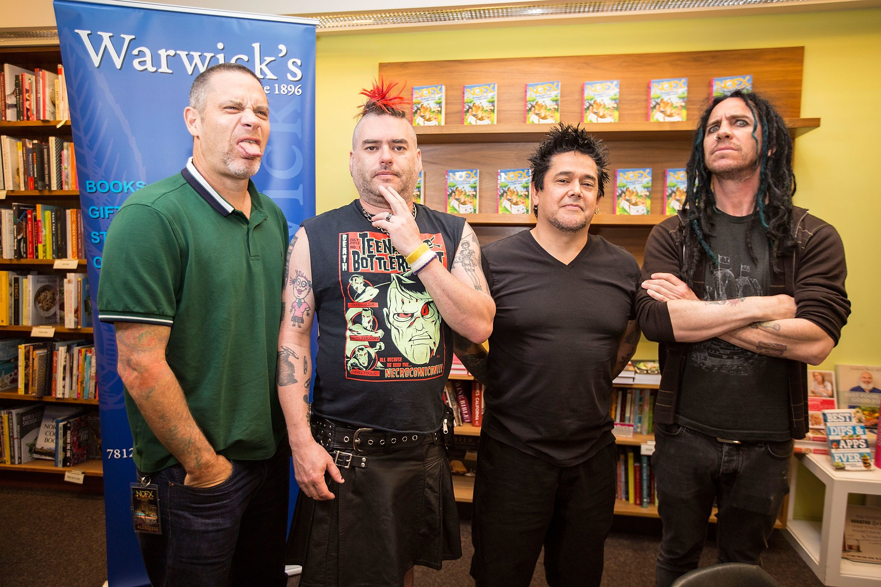LA JOLLA, CA - APRIL 14:  (L-R) Musicians Erik Sandin, Fat Mike, El Hefe, and Eric Melvin of NOFX pose at a signing for their book 'The Hepatitis Bathtub and Other Stories' at Warwick's on April 14, 2016 in La Jolla, California.  (Photo by Daniel Knighton/Getty Images)