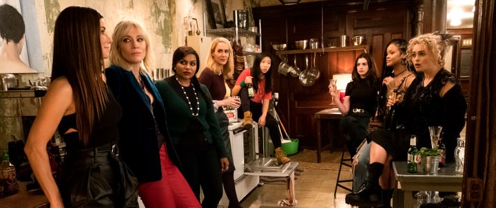 "The eight in ""Ocean's 8"": Sandra Bullock, Cate Blanchett, Mindy Kaling, Sarah Paulson, Awkwafina, Anne Hathaway, Rihanna and"