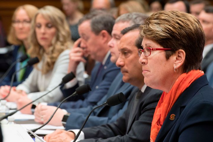 President and CEO of the U.S. Center for SafeSport, Shellie Pfohl (right), testifies before Congress on May 23.