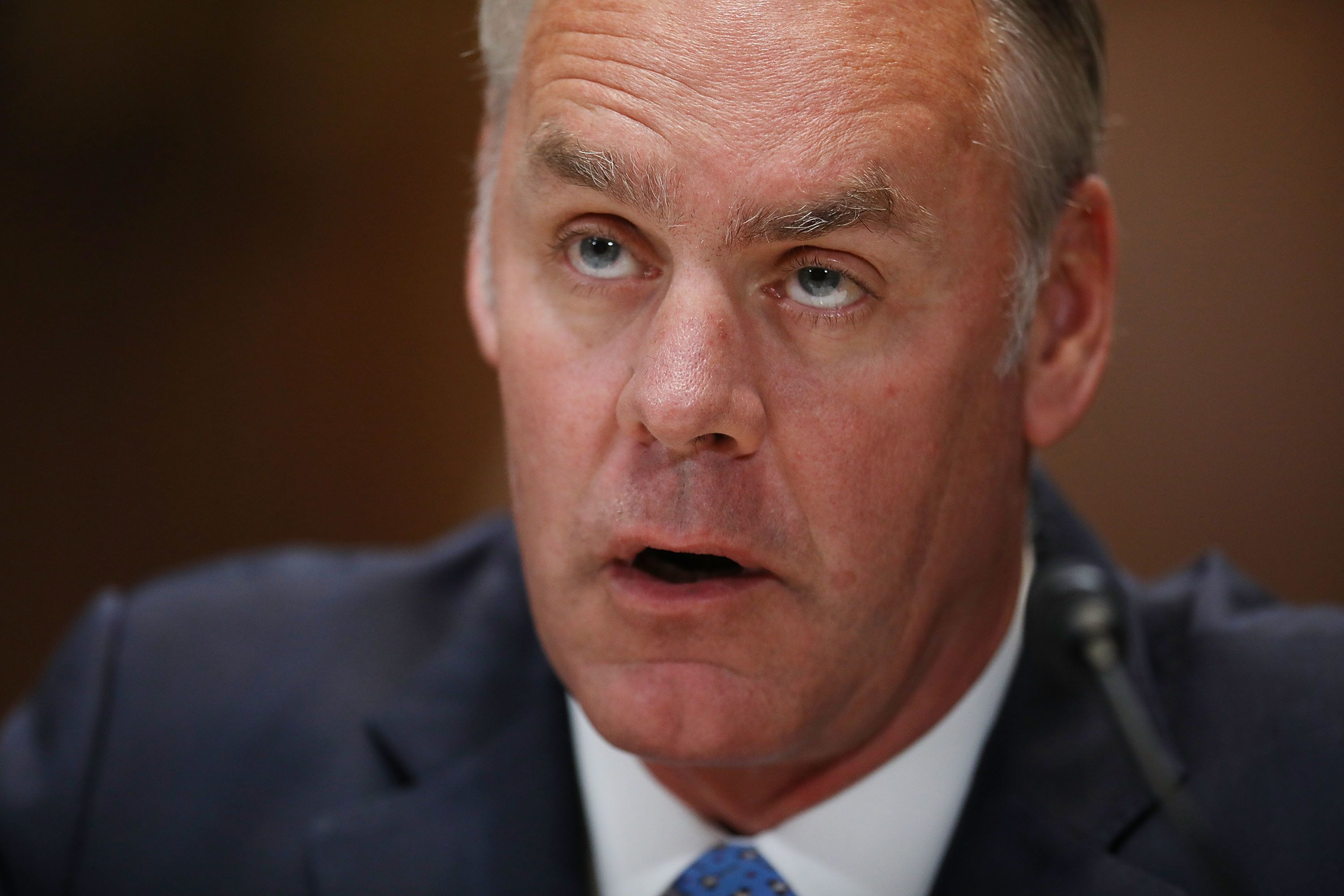 WASHINGTON, DC - MAY 10:  U.S. Interior Secretary Ryan Zinke testifies beofre the Senate Appropriations Committee's Interior, Environment, and Related Agencies Subcommittee in the Dirksen Senate Office Building on Capitol Hill May 10, 2018 in Washington, DC. Zinke testified about his department's FY2019 funding request and budget.  (Photo by Chip Somodevilla/Getty Images)