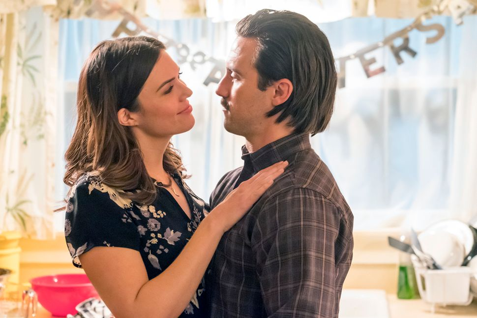 "Mandy Moore and Milo Ventimiglia as Rebecca and Jack Pearson on ""This Is Us."""