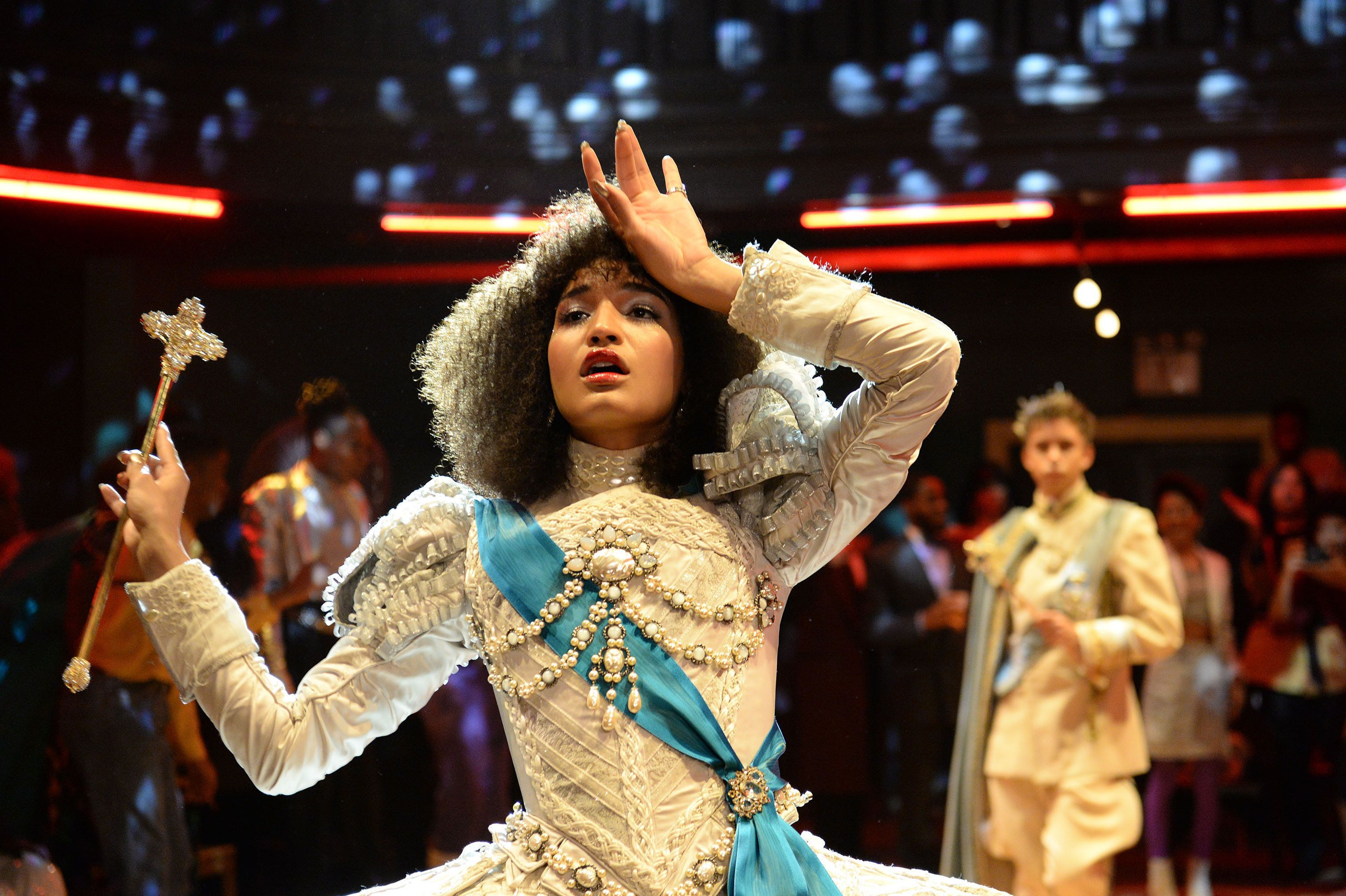 POSE -- Indya Moore as Angel competes in the 1987 ballroom category ROYALTY REALNESS in a scene from the pilot of POSE. Ballroom legends and survivors served as consultants for this and other scenes. CR: JoJo Whilden/FX