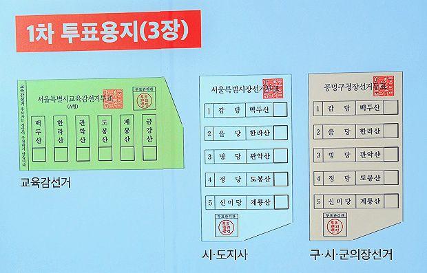 6월 13일에 1차로 받게 되는 3장의 투표용지 (자료 출처: