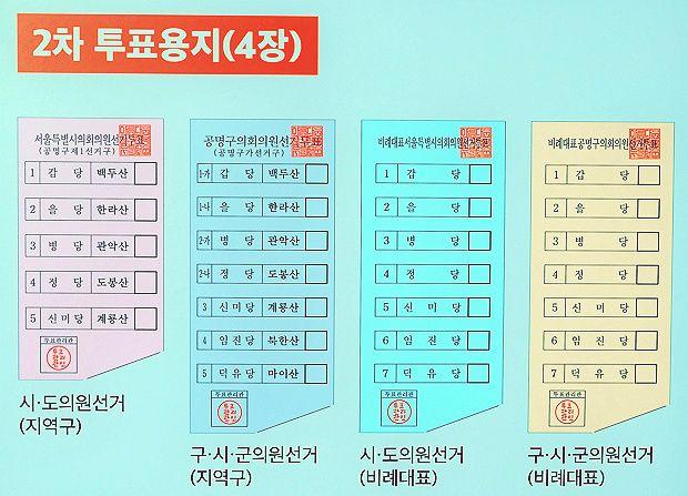 6월 13일에 2차로 받게 되는 4장의 투표용지 (자료 출처: