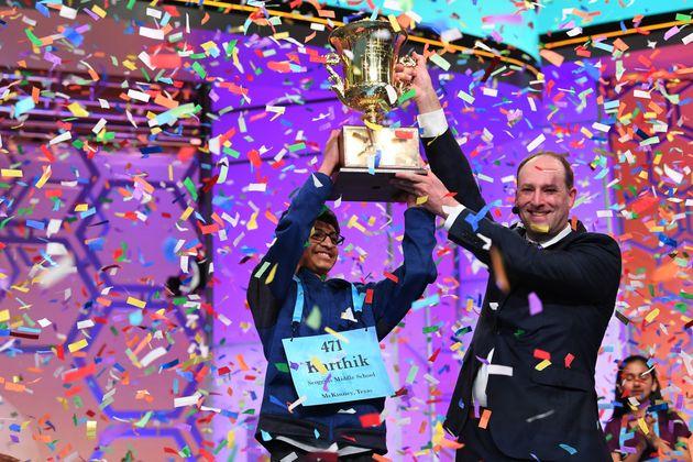 2018년 스크립스 전미 철자법 대회에서 우승을 차지한 카르티크