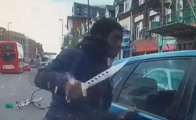 Terrifying Moment Cyclist Launches Frenzied Knife Attack On