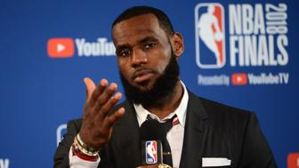 OAKLAND, CA - MAY 31:  LeBron James #23 of the Cleveland Cavaliers talks to the media after the game against the Golden State Warriors in Game One of the 2018 NBA Finals on May 31, 2018 at ORACLE Arena in Oakland, California. NOTE TO USER: User expressly acknowledges and agrees that, by downloading and or using this photograph, user is consenting to the terms and conditions of Getty Images License Agreement. Mandatory Copyright Notice: Copyright 2018 NBAE (Photo by Noah Graham/NBAE via Getty Images)
