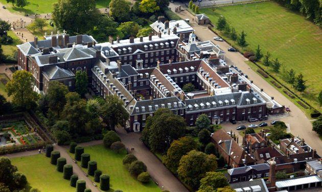 An aerial view of Kensington Palace, taken in