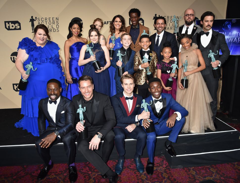 "The actors of ""This Is Us,"" winners of Outstanding Performance by an Ensemble in a Drama Series, pose at the Screen Actors&nb"