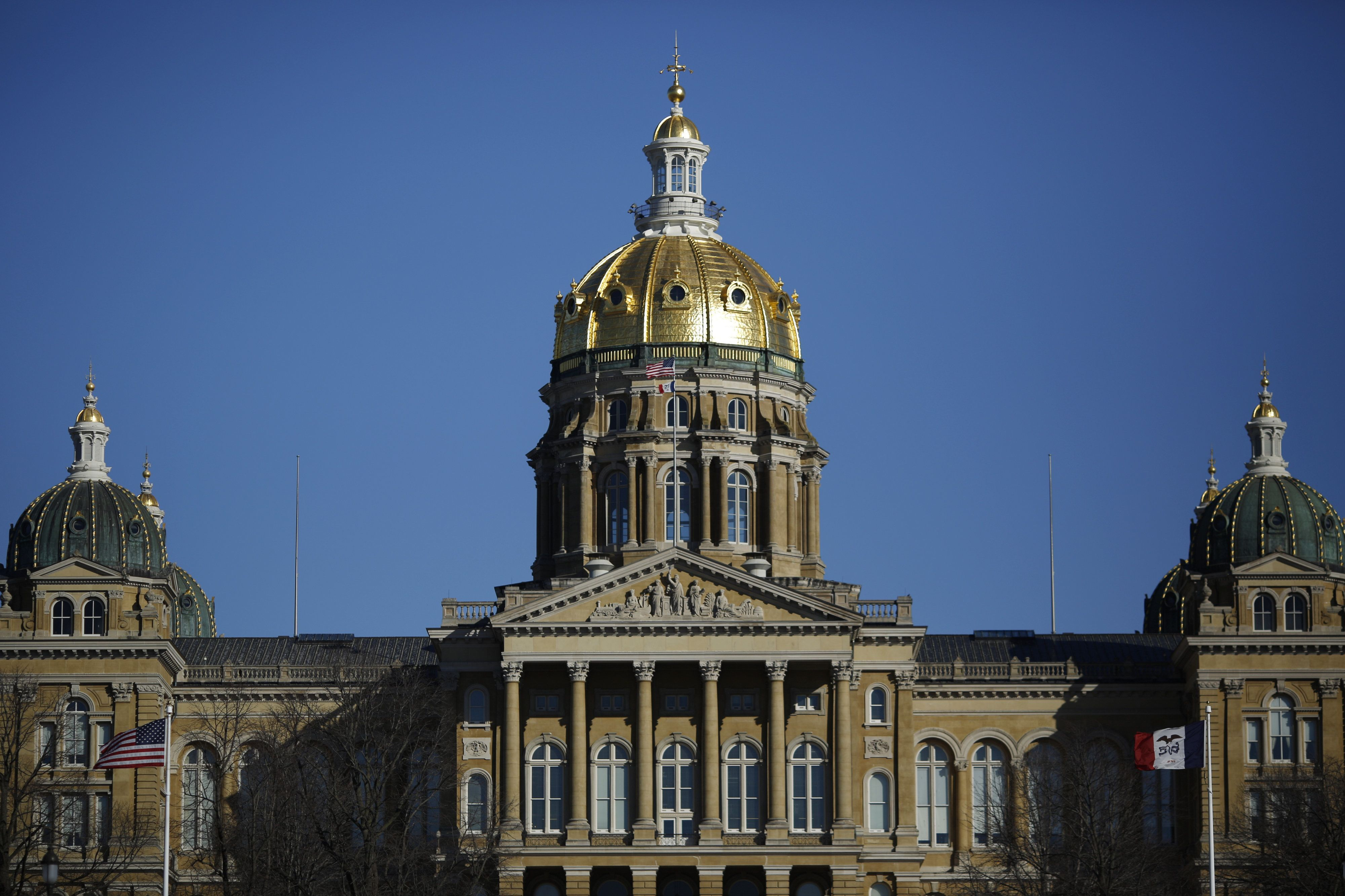 The Iowa State Capitol Building stands in Des Moines, Iowa, U.S., on Friday, Jan. 29, 2016. As the first in the nation Iowa caucuses approaches, where registering your vote isn't as simple as casting a ballot, the state is starting to thrum with nervous energy. Photographer: Luke Sharrett/Bloomberg via Getty Images