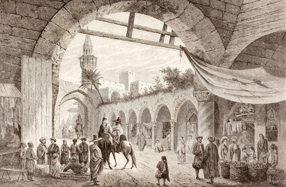 Cette illustration qui date des années 1800 met en reliefle souvenir vivant du Souk tunisien...