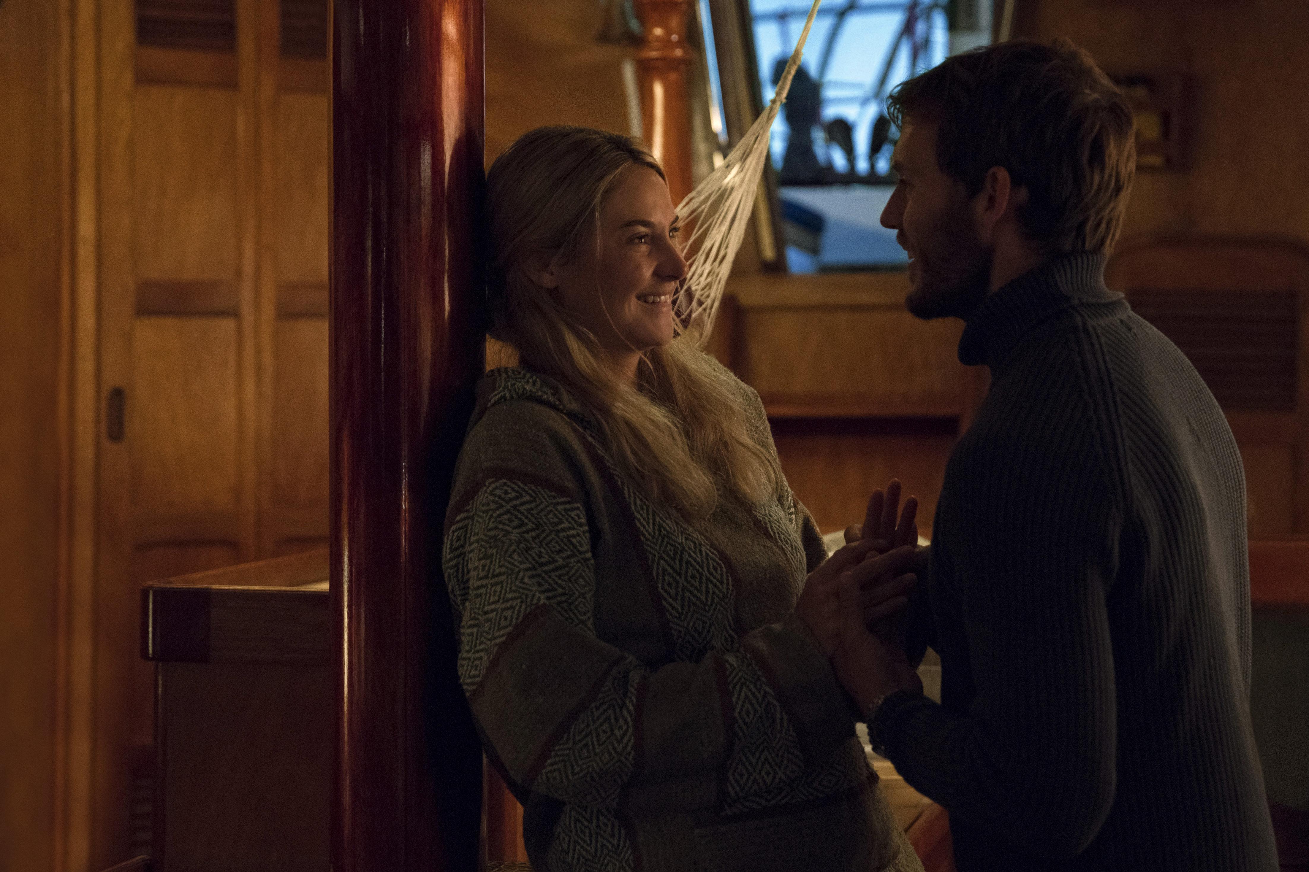 "Shailene Woodley and Sam Claflin in ""Adrift."""