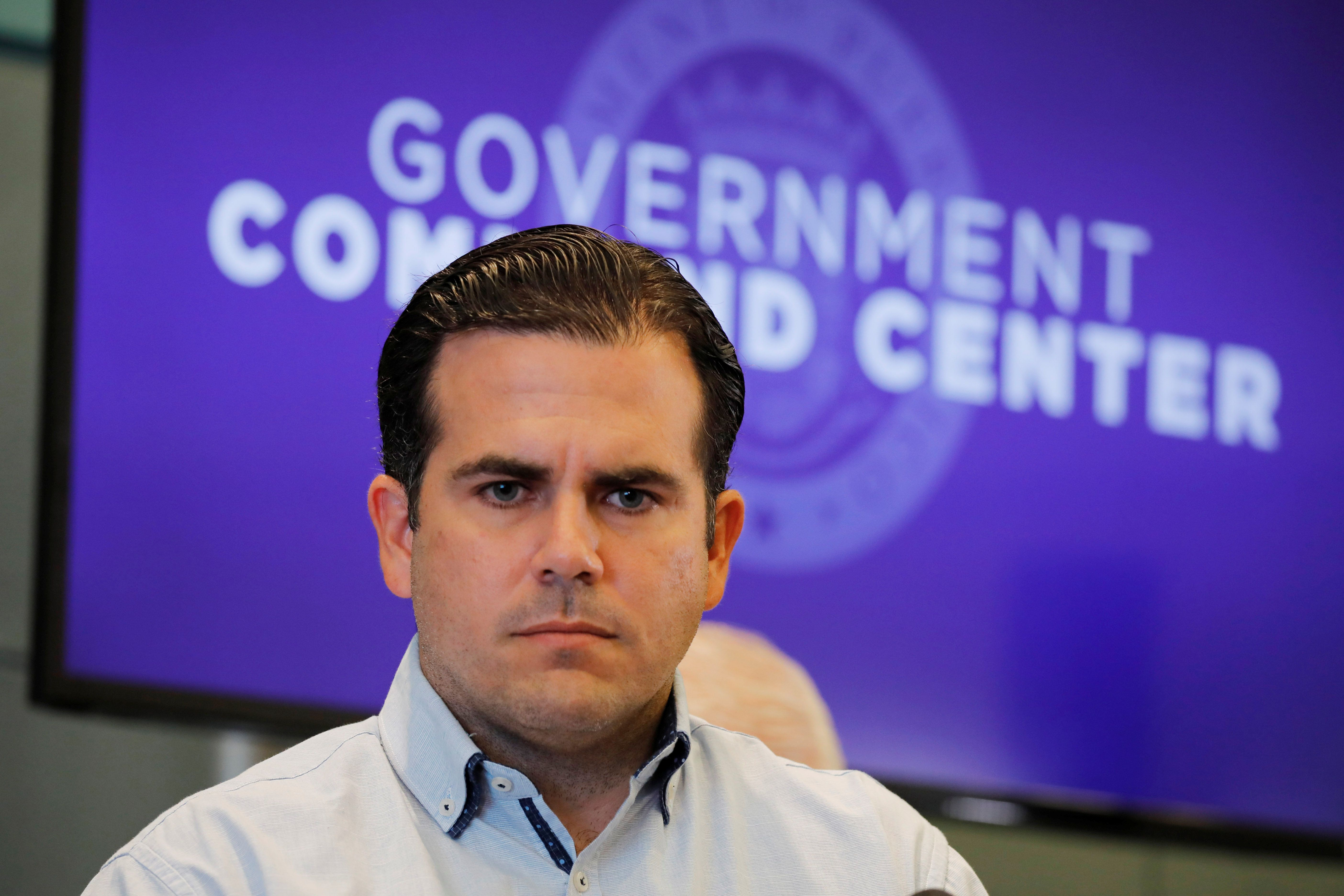 Governor of Puerto Rico Ricardo Rossello attends a news conference days after Hurricane Maria hit Puerto Rico, in San Juan, Puerto Rico September 30, 2017. REUTERS/Carlos Barria