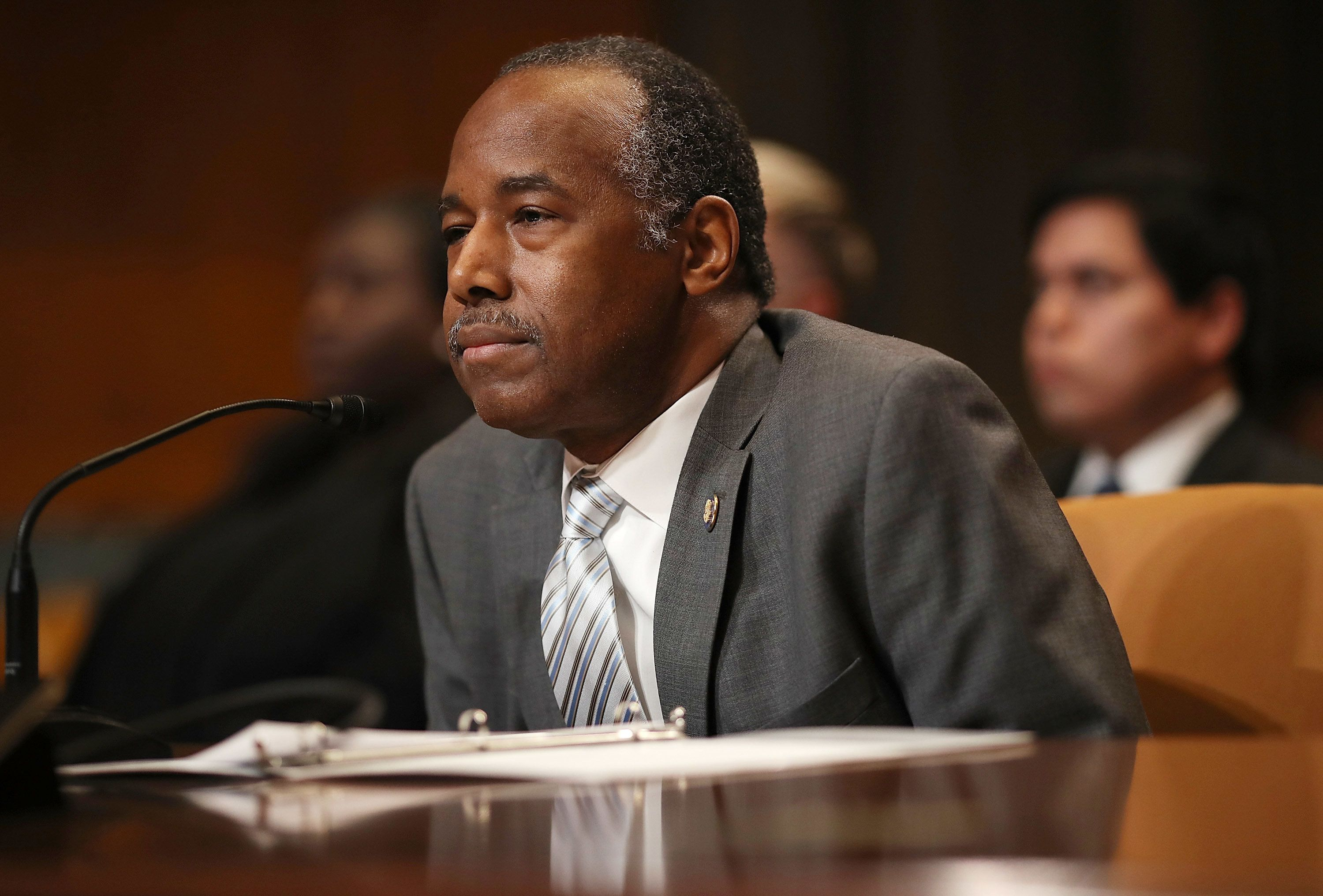 WASHINGTON, DC - APRIL 18:  HUD Secretary Ben Carson testifies before the Transportation, Housing and Urban Development, and Related Agencies Subcommittee on Capitol Hill April 18, 2018 in Washington, DC. The committee heard testimony on proposed budget estimates and justification for FY2019 for the Housing and Urban Development Department.  (Photo by Win McNamee/Getty Images)