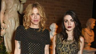 LONDON, ENGLAND - SEPTEMBER 20:  Courtney Love (L) and Frances Bean Cobain attend the launch party hosted by Christopher Bailey and Jefferson Hack to celebrate the Burberry and Dazed cover featuring Jean Campbell at Makers House on September 20, 2016 in London, England.  (Photo by David M. Benett/Dave Benett/Getty Images for Dazed Media)