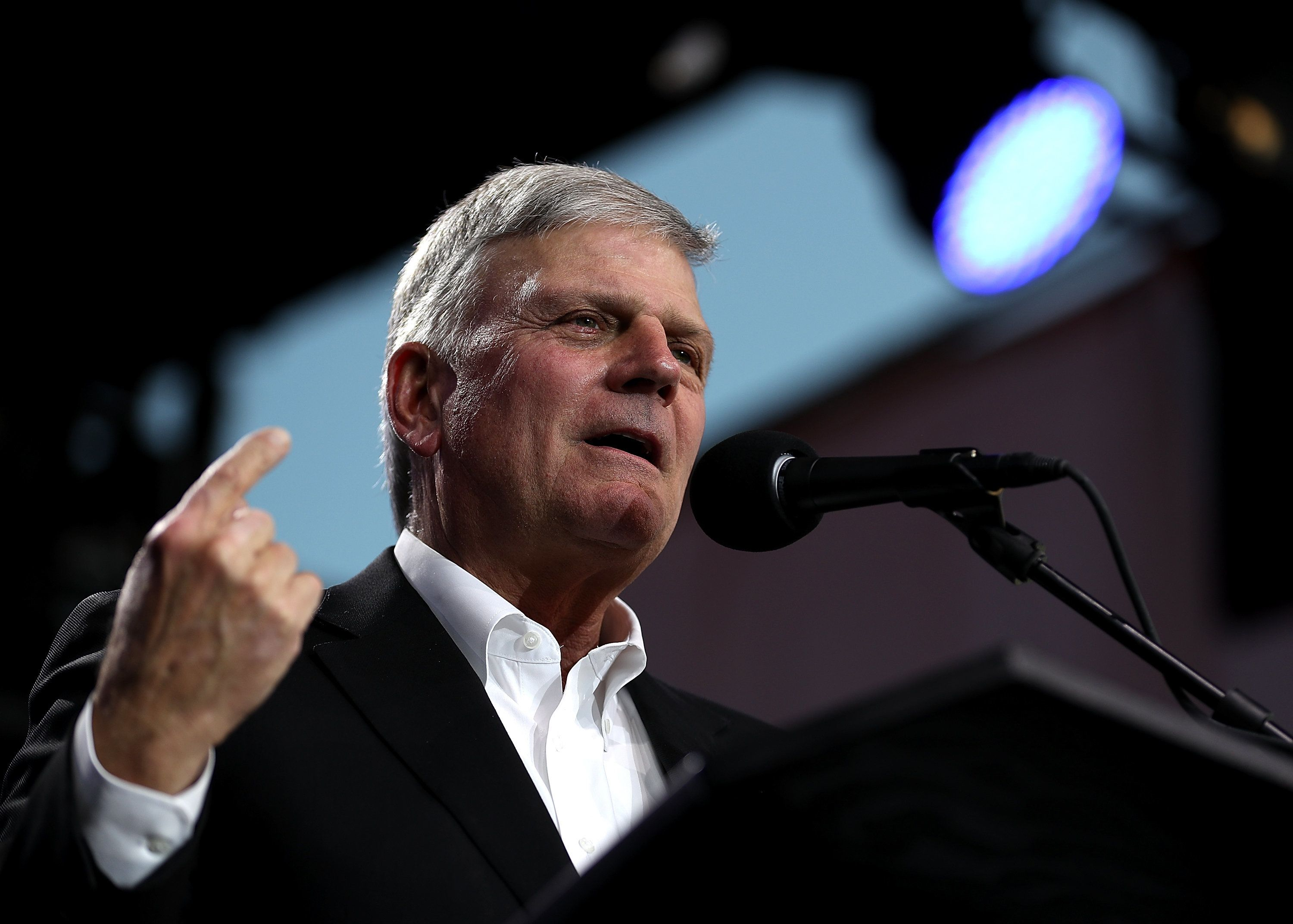 TURLOCK, CA - MAY 29:  Rev. Franklin Graham speaks during Franklin Graham's 'Decision America' California tour at the Stanislaus County Fairgrounds on May 29, 2018 in Turlock, California. Rev. Franklin Graham  is touring California for the weeks leading up to the California primary election on June 5th with a message for evangelicals to vote.  (Photo by Justin Sullivan/Getty Images)
