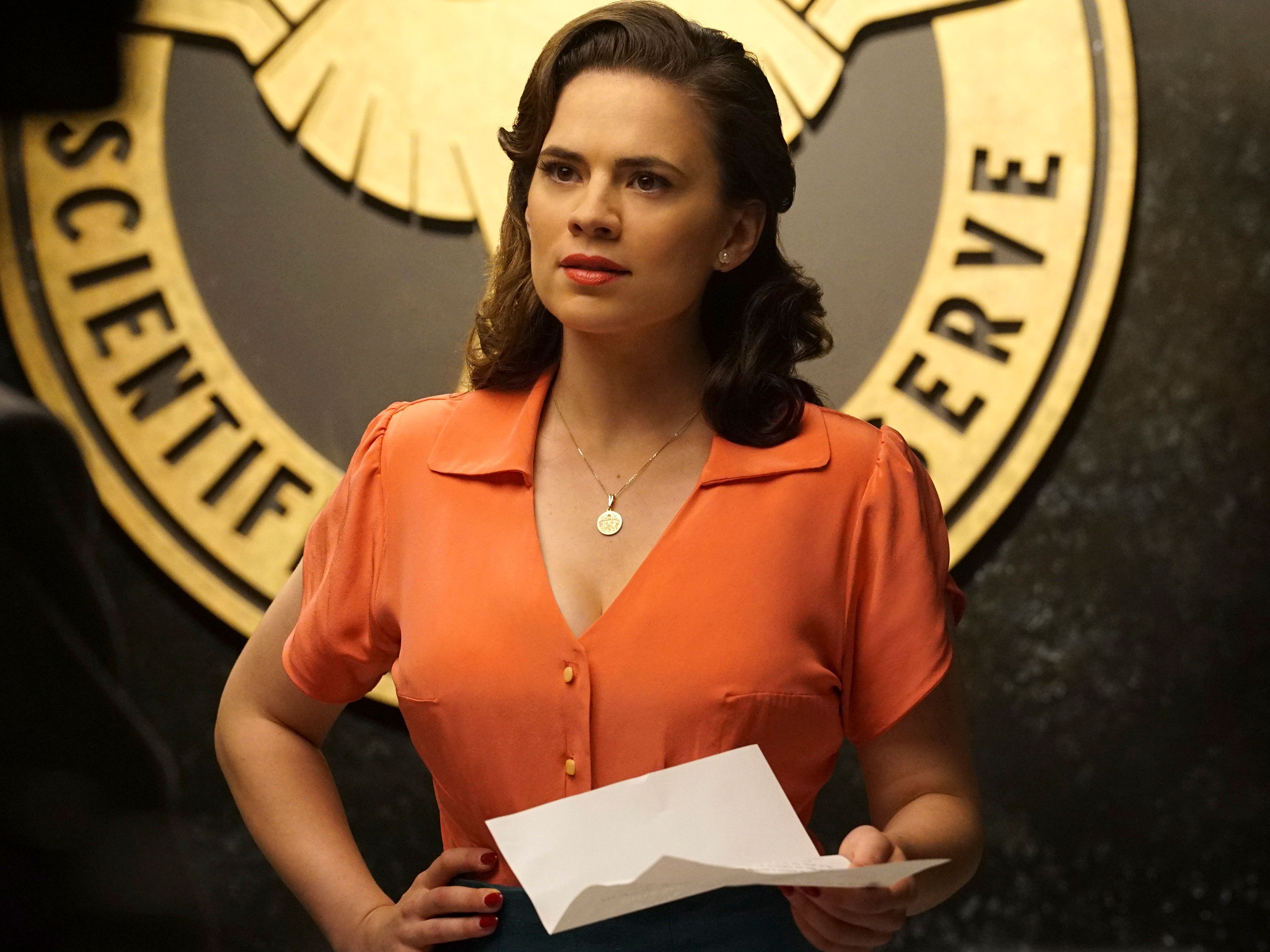 MARVEL'S AGENT CARTER - Smoke and Mirrors - Agent Carter and the SSR learn theres more than just a pretty face behind Hollywood star Whitney Frost, Peggys most dangerous foe yet, on Marvels Agent Carter, TUESDAY, FEBRUARY 2 (9:00-10:00 p.m. EST) on the ABC Television Network. (Photo by Richard Cartwright/ABC via Getty Images) HAYLEY ATWELL