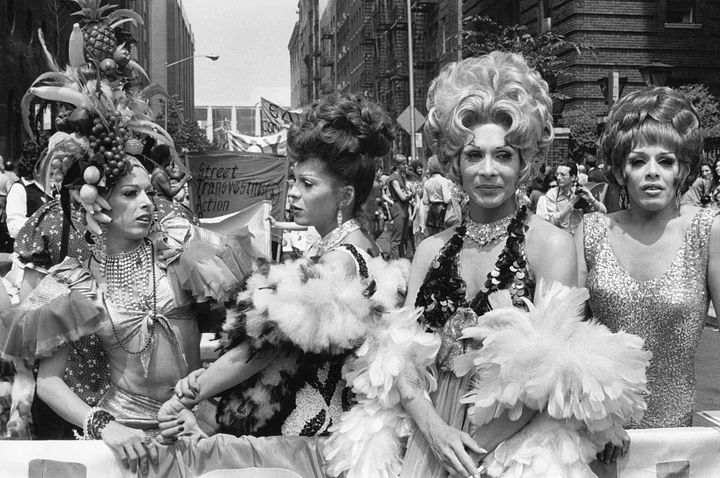 Drag queens of STAR, the Street Transvestite Action Revolutionaries, during the fourth annual Gay Pride Day March in New York