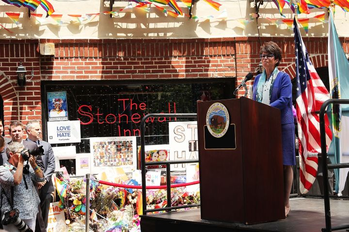 Valerie Jarrett, Senior Adviser to President Barack Obama, speaking at a dedication ceremony officially designating the Stone