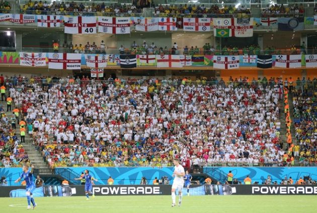 England fans at the Arena da Amazonia in Manaus in