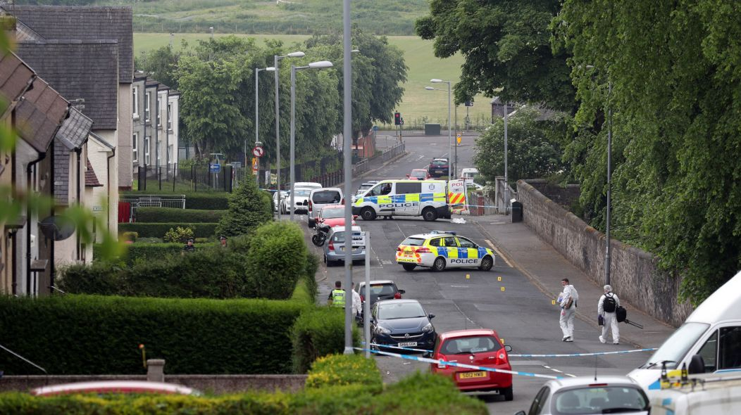 Two police officers were seriously injured at a house in Inverclyde on Friday
