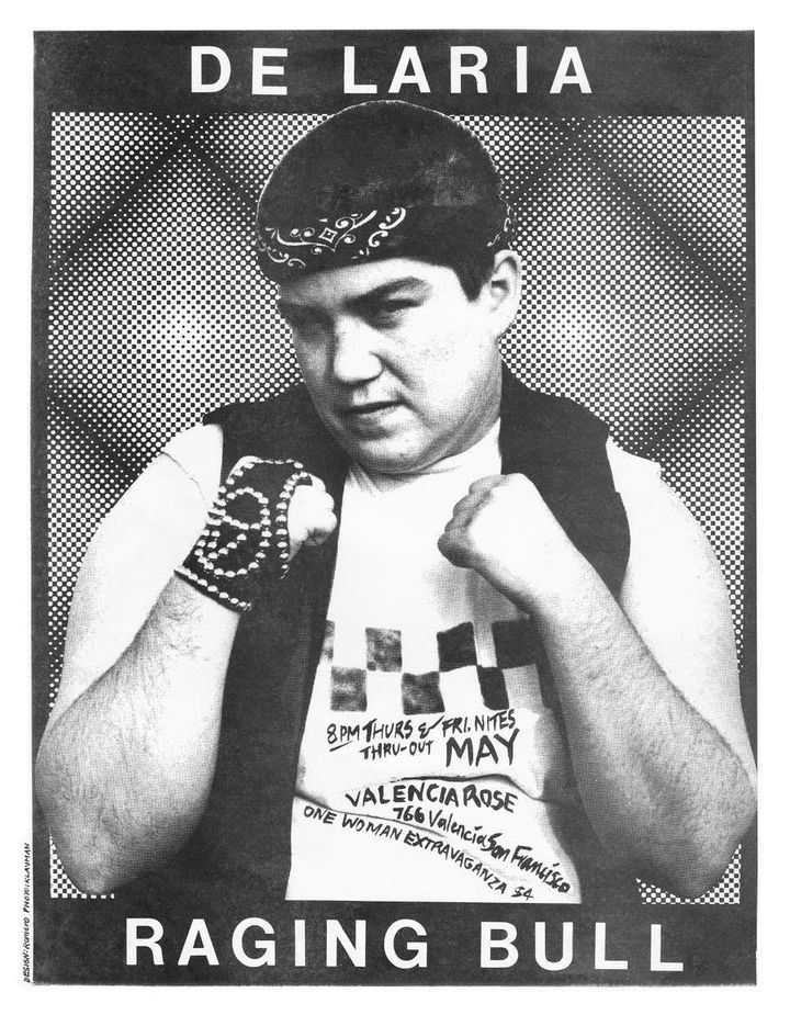 "A poster for DeLaria's first solo show, ""Raging Bull."""