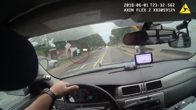 The officer was filmed trying to stop the suspect twice with his