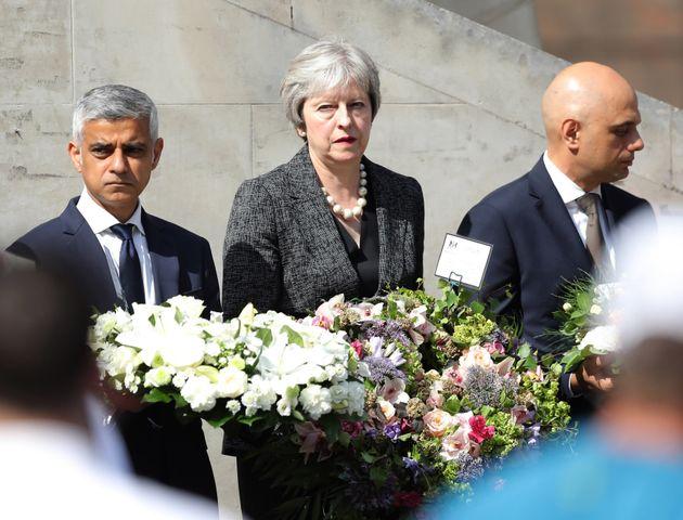 Mayor of London Sadiq Khan, Prime Minister Theresa May and Home Secretary Sajid