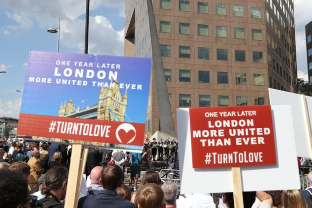 Crowds gather on the south side of London Bridge ahead of a minute's silence to mark one year since the...