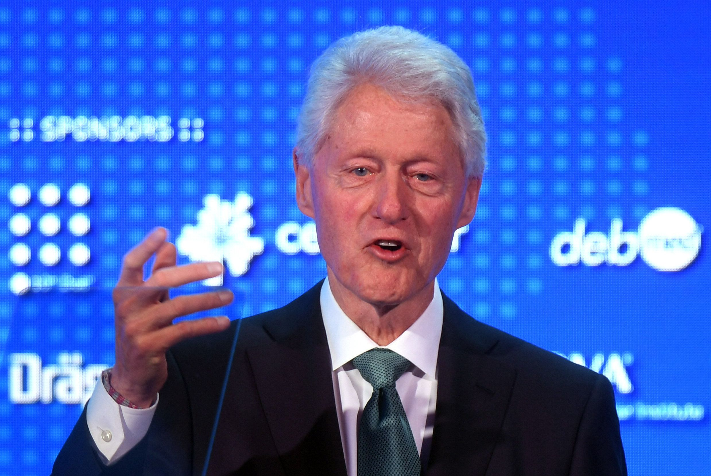 Former US President Bill Clinton delivers a speech at the World Patient Safety Summit in London. (Photo by Victoria Jones/PA Images via Getty Images)