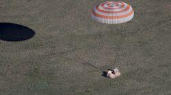 Retour sur Terre de trois astronautes de l'ISS avec un ballon pour le