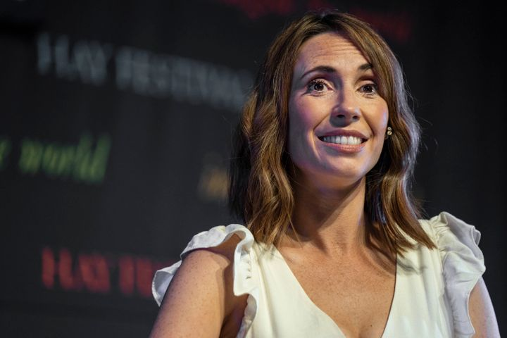Alex Jones returned to work three months after giving birth to her son Teddy.