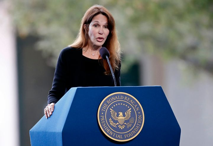 "Patti Davis, pictured speaking at Nancy Reagan's funeral in 2016, said her father Ronald Reagan would have been ""appalled"" by"