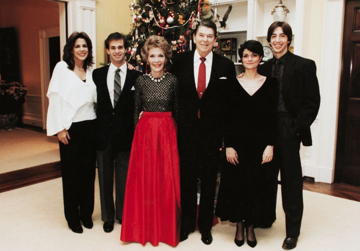 Patti Davis, left, and family celebrate a Christmas during Ronald Reagan's presidency.