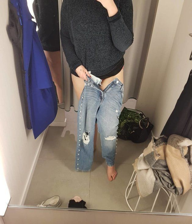 Rebecca Parker shared a photo taken in an H&M changing room to show her struggle to get into jeans...