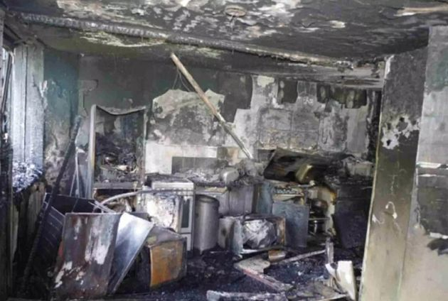 The burnt out shell of the flat where the Grenfell Tower fire began has been pictured for the first time